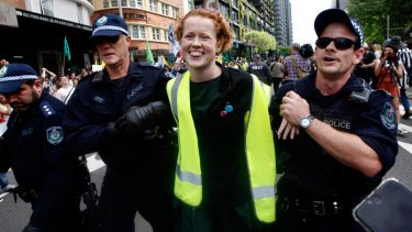 Lily Campbell being arrested on Monday.