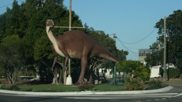 A statue of a Muttaburrasaurus in Hughenden, Queensland.