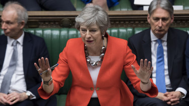 British Prime Minister Theresa May speaks in parliament ahead of a crucial Brexit vote.