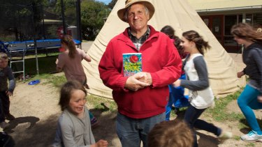John Marsden and an earlier book at his Candlebark school in 2013.