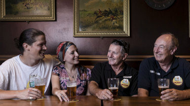 Jim Barker, Jamie Lee-Garner, Mark Sullivan and John Watkins enjoy a Resch's beer at the Shakespeare Hotel in Surry Hills