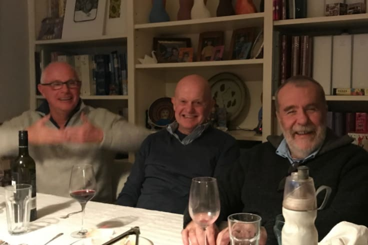 From left: Michael Gordon, John Silvester and Martin Flanagan at dinner in 2017.