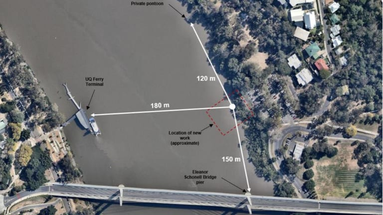 The new mooring would be about 150 metres  from the University of Queensland ferry terminal.