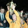 Nick Farr-Jones celebrates with the Webb Ellis Cup at Twickenham in 1991.