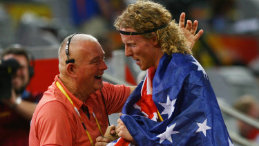 Maurie Plant, left, with Steve Hooker at the Beijing Games.