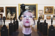 Curator Isobel Parker Philip in the old court galleries at NSW Art Gallery.