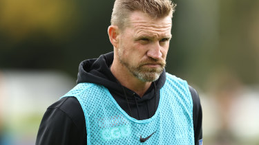 Collingwood coach Nathan Buckley, pictured during a training session at the Holden Centre, is clear that the decision on his coaching future doesn't rest with new president Mark Korda.