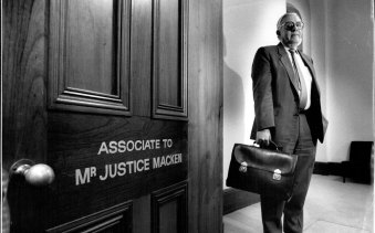 Justice Macken, in his chambers at Phillip Street on his retirement, June 13, 1989.