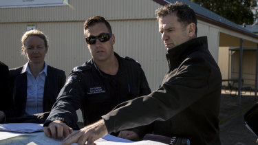Detective Inspector Andrew Stamper leads the police search near Labertouche last Monday.