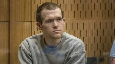 Australian Brenton Harrison Tarrant sits in the dock at the Christchurch High Court for sentencing on Monday.