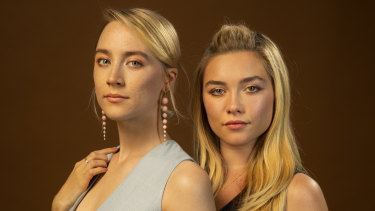Saoirse Ronan (left) and Florence Pugh play sisters and romantic rivals in Little Women.