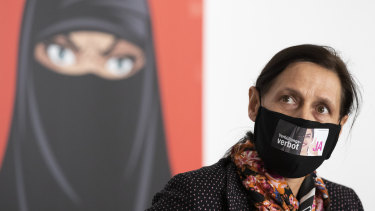 Monika Ruegsegger-Hurschler, National Councillor SVP, gives an interview at the meeting place of the supporters of the initiative to ban face coverings in Bern, Switzerland.