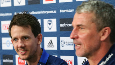 Welcome back: Robbie Kruse (left) with Melbourne Victory coach Marco Kurz on Thursday.