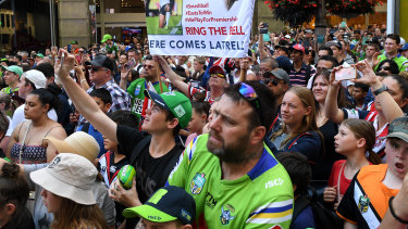 Countdown: Supporters attend the NRL Fan Fest event at Martin Place.