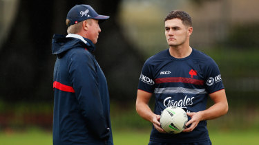 Kyle Flanagan and Roosters coach Trent Robinson chat at training early in the 2020 season before things turned sour.