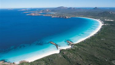 Aerial view of Lucky Bay, Cape Le Grand National Park.