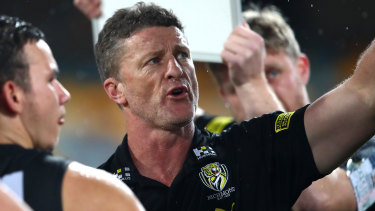 Driven spare: Richmond coach Damien Hardwick pointed the finger at Sydney's 'extra man' tactic for the dismal spectacle of their round 6 clash.