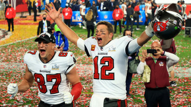 Rob Gronkowski and Tom Brady after defeating the Kansas City Chiefs.