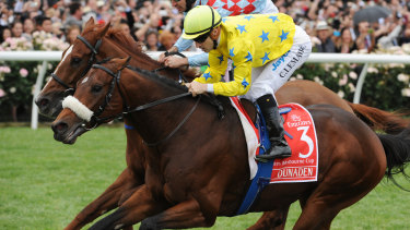 Jockey Christophe Lemaire (in yellow) rides Dunaden to victory in the 2011 Melbourne Cup.
