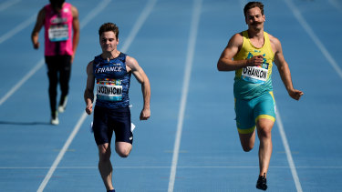 Australia's Evan O'Hanlon and France's Dimitri Jozwicki in the 100m (T38) event at the World Para Athletics Championships.