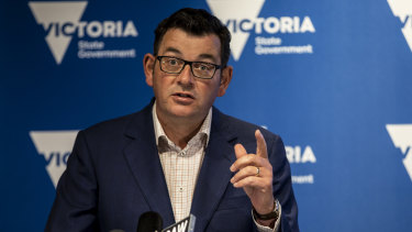 Daniel Andrews announcing the five-day Melbourne lockdown.