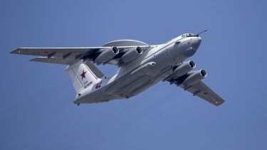 A Russian Beriev A-50 airborne early warning and control training aircraft .