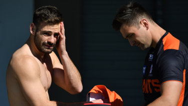 Free agent Stephen Coniglio (left) at Giants training this week.
