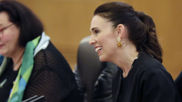 New Zealand Prime Minister Jacinda Ardern talks during the meeting with Chinese President Xi Jinping.