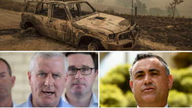 The NSW bushfires have ignited a political storm with Nationals pair Michael McCormack and John Barilaro saying now is not the time to be talking about climate change.