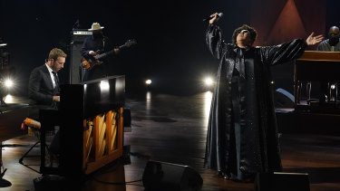 Chris Martin and Brittany Howard performing during the In Memoriam.