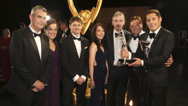 2019 Creative Arts Emmy Award winners Luke Letkey, from left, Laura Bethencourt Montes, Steven Godfrey, Clare Cheetham, Max Dennison, Claudius Christian Rauch, and Lindsay McFarlane from Chernobyl.