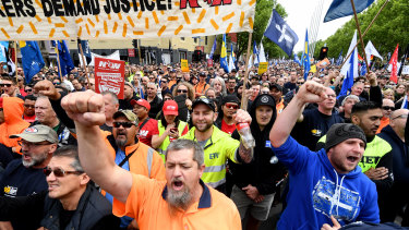 Thousands of people join the ACTU rally in Melbourne on Tuesday.