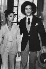 Black Panthers activist Huey Newton and his wife Gwen arrive at Alameda County Court in 1978.