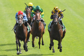 Funstar , left, and Probabeel fight out the finish of the Surround Stakes a fortnight ago. They will battle again in Saturday's Phar Lap Stakes.