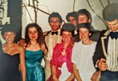 Helen Pitt (in pink taffeta) at her year 12 farewell.