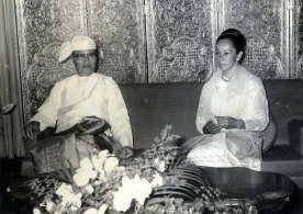 Former Burmese dictator Ne Win (L) and June Rose Bellamy on their wedding day in Burma in the 1970s.