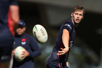 Teen whiz Sam Walker at Roosters training on Monday.
