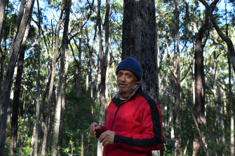 Local resident Pat Byrne who has been monitoring endangered wildlife in the unburnt area of bushland near Manyana.