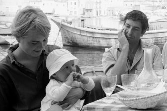Leonard Cohen with Marianne Ihlen and her son, Axel Jensen, on Hydra in October 1960.