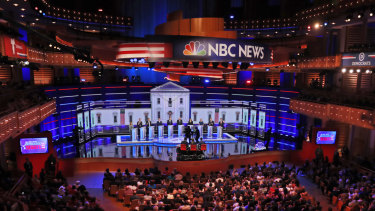 The first debates of the 2020 primary season took place over two days in Miami. Above, the crowded field on Thursday.