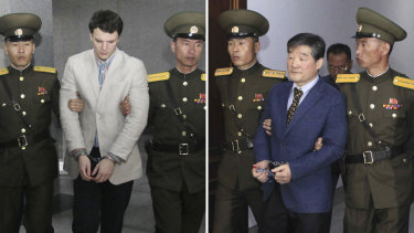 The late Otto Warmbier,  left, and Kim Dong-chul in 2016.