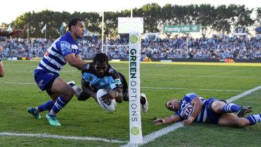 Shark attack: Cronulla's Edrick Lee dives over in the win over the Bulldogs.