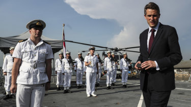 British Defence Secretary Gavin Williamson aboard HMS Sutherland in Singapore in June.