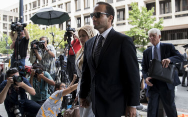George Papadopoulos, former campaign adviser to Donald Trump, arrives for sentencing at federal court in Washington on  Friday.