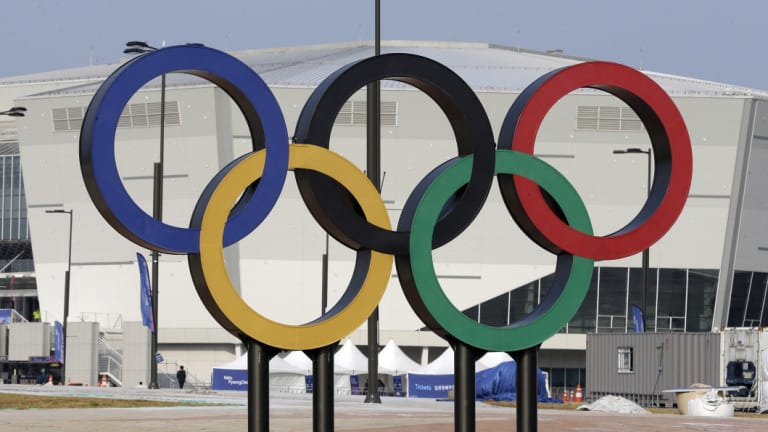 The Olympic rings in South Korea for the Winter Olympics.