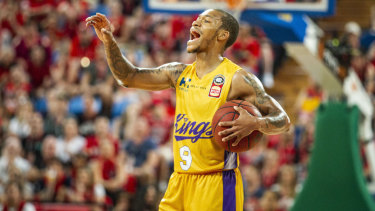 Directions: Jerome Randle of the Kings makes himself heard.