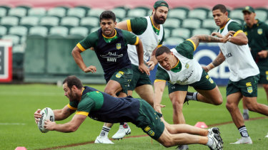 In the corner: Captain Boyd Cordner crosses the line training for a rare try during Kangaroos training on Wednesday.