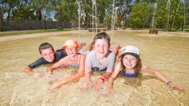 Siblings Max, 12, and Tilly, 10, from Adelaide with family friends Darcey, 9, and Eliza, 6, in Mildura, where temperatures were above 40 degrees for days on end in January.