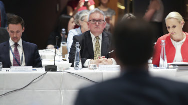 NSW Energy Minister Don Harwin, facing Mr Taylor, prepared to launch an emissions policy at COAG on Wednesday.