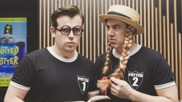 Potted Potter by Lunchbox Theatrical Productions will be showing at Canberra Theatre Centre. From left, James Percy as Harry Potter and Joseph Maudsley as everyone else.
